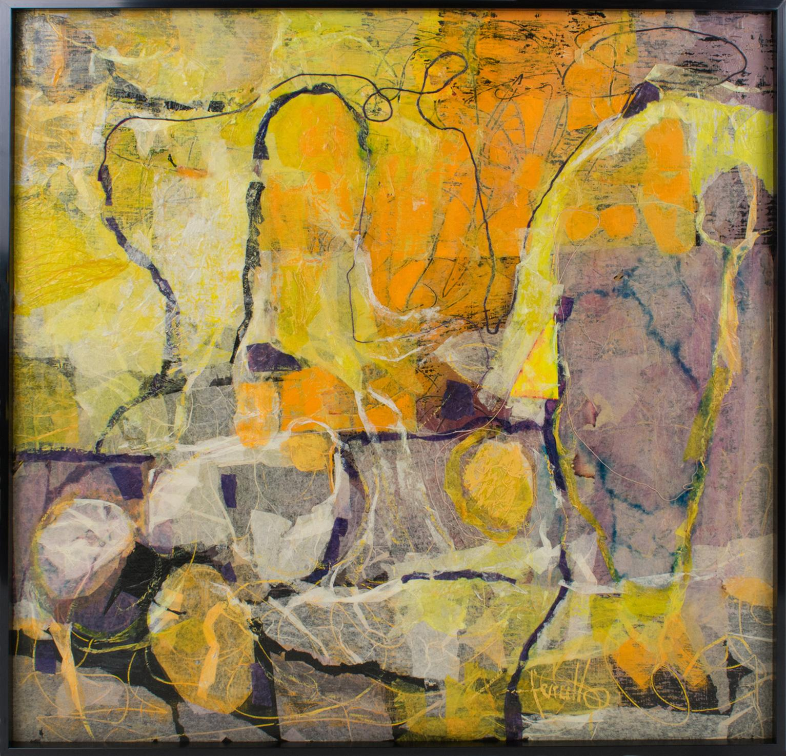 Mid Century Colorful Collage Abstract Painting by Edith Ferullo