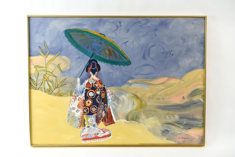 Modern oil of a Japanese woman in a Japanese inspired landscape. Signed E. Goldman lower right. The artist has contrasted the flowing washes of the landscape with the brightly detailed and impasto painted kimono.