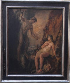 Jason Rescuing a Maiden - British Impressionist mythological oil female artist