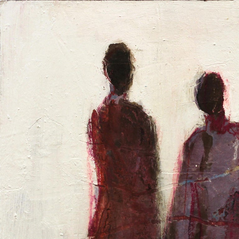 Swiss artist Edith Konrad paints figurative abstract compositions with mixed media on canvas. She layers her expression of her emotional response to the subjects with dynamic textures and subtle patterns in her artworks. The thick layers of paint