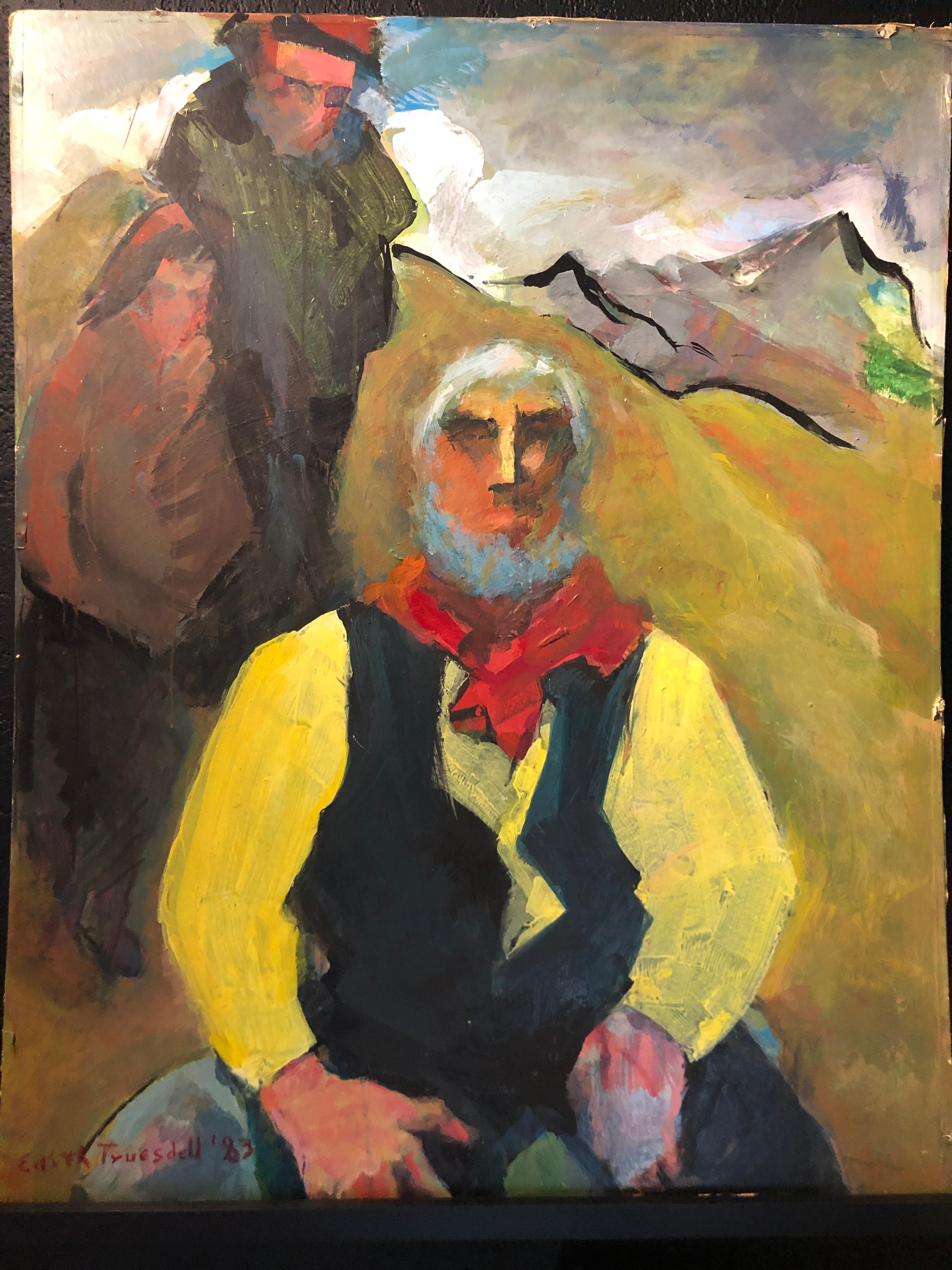 """1980's """"Old Timer"""" Figurative Painting David Park Edith Park Truesdell"""
