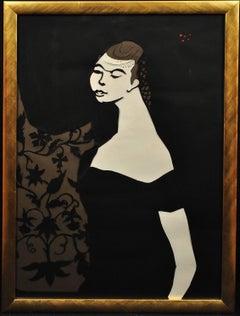Ballet Girl (Lesley Blandy).Paper Cut Bas Relief.Scalpel Painting.Original.1967.