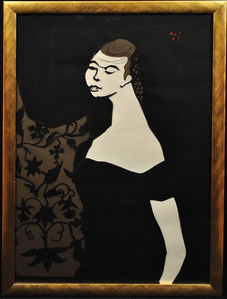 Ballet Girl (Lesley Blandy).Paper Cut Bas Relief.Scalpel Painting.Original.1967. - Mixed Media Art by Edith Simon