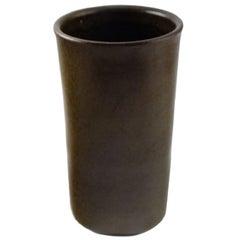 Edith Sonne Bruun for Saxbo, Ceramic Vase, Beautiful Olive Green Glaze
