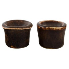 Edith Sonne for Saxbo, a Pair of Glazed Ceramic Candleholders