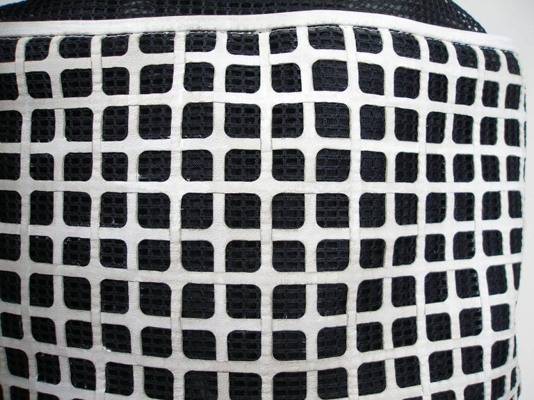 100d4576e51955 Women's Edition Limited Chanel White Leather and Mesh Black Fabric Bucket  Shoulder Bag For Sale