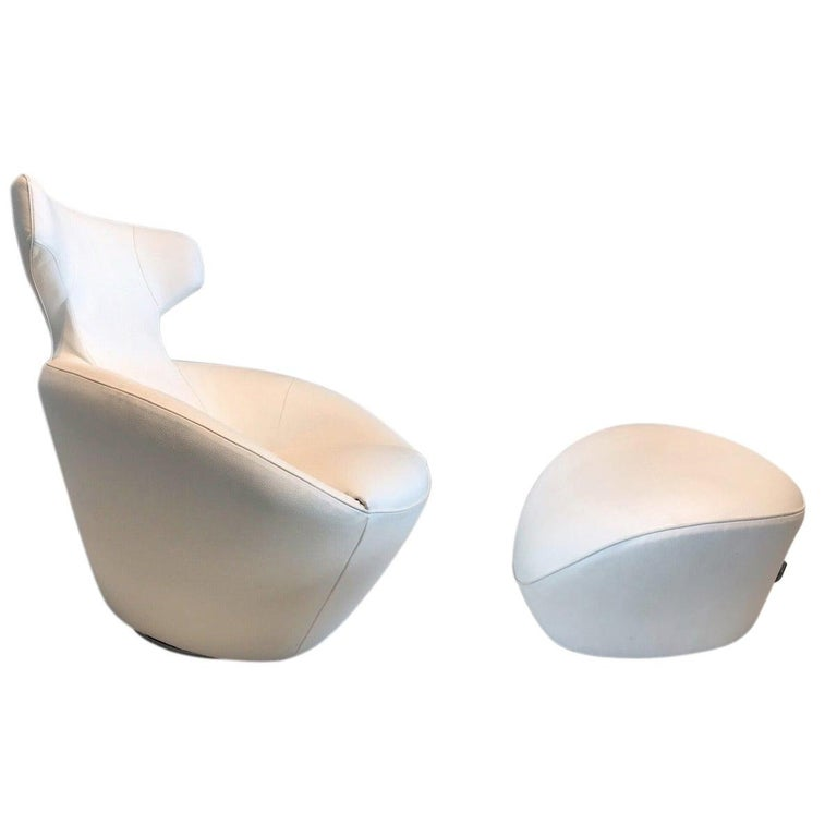 Edito Swivel Lounge Chair and Ottoman by Roche Bobois For Sale