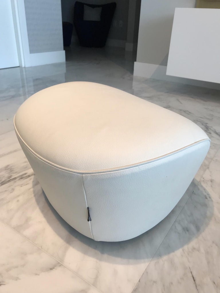 Edito Swivel Lounge Chair in White Leather by Roche Bobois For Sale 7