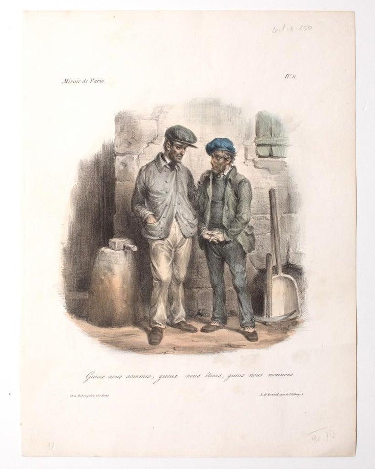 Edmé-Jean Pigal Figurative Print - Miroir de Paris, n. 11 - Original Lithograph by E. J. Pigal - 19th Century