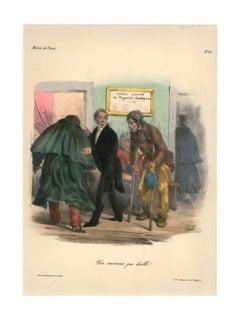 Miroir de Paris - Original Lithograph by Edmé-Jean Pigal - Mid 1800