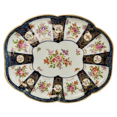 Edmé Samson Porcelain Cabaret Tray, Worcester Style Blue with Flowers, 19th C