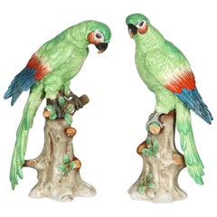 Edme Samson Porcelain Parrots on Trunks in Green
