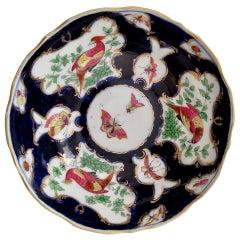 Edmé Samson Small Porcelain Bowl, Worcester Style Blue Scale Birds, 19thC
