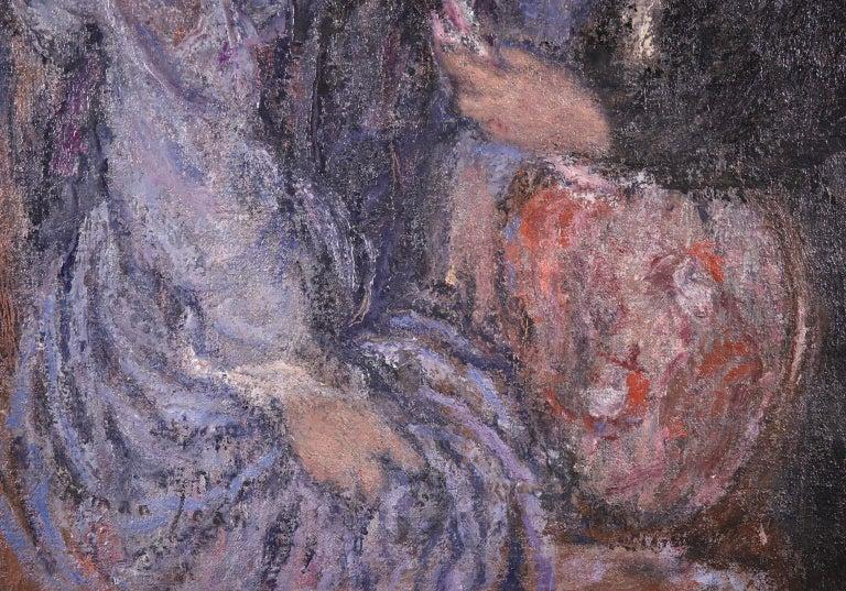 Elegant Women - Impressionist Oil, Figures in Interior Edmond Francois Aman-Jean For Sale 6