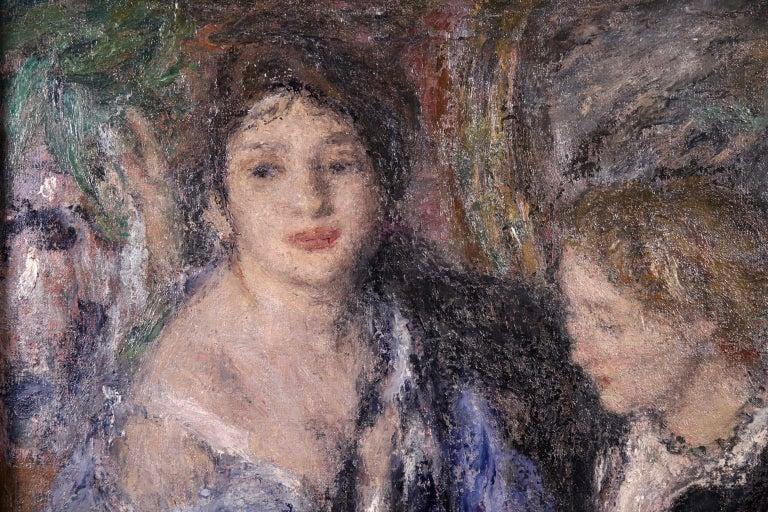 Elegant Women - Impressionist Oil, Figures in Interior Edmond Francois Aman-Jean For Sale 8