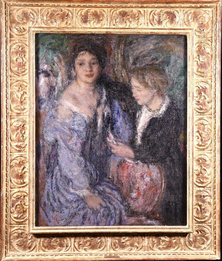 Elegant Women - Impressionist Oil, Figures in Interior Edmond Francois Aman-Jean - Painting by Edmond Aman-Jean