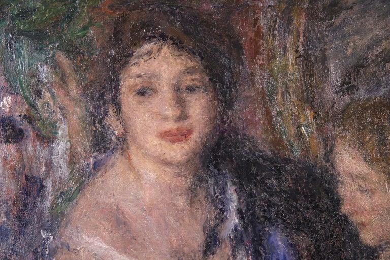 Elegant Women - Impressionist Oil, Figures in Interior Edmond Francois Aman-Jean - Gray Portrait Painting by Edmond Aman-Jean