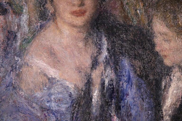 Elegant Women - Impressionist Oil, Figures in Interior Edmond Francois Aman-Jean For Sale 1