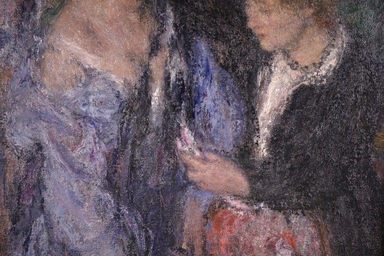 Elegant Women - Impressionist Oil, Figures in Interior Edmond Francois Aman-Jean For Sale 4