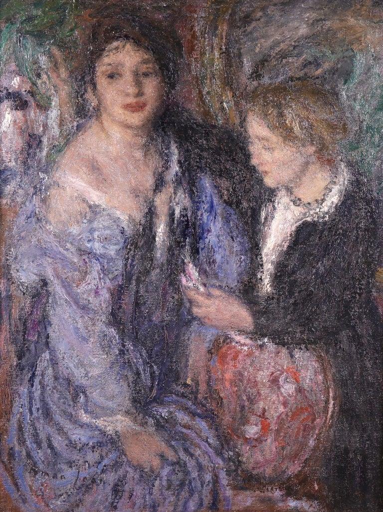 Edmond Aman-Jean Portrait Painting - Elegant Women - Impressionist Oil, Figures in Interior Edmond Francois Aman-Jean