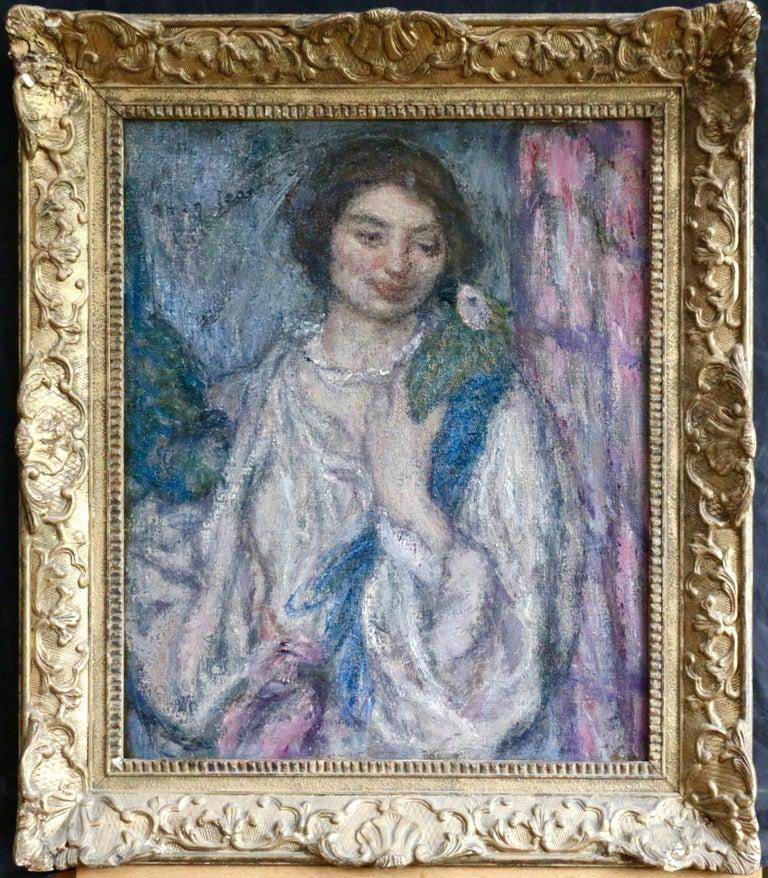 Jeune Fille avec Perroquet - Painting by Edmond Aman-Jean