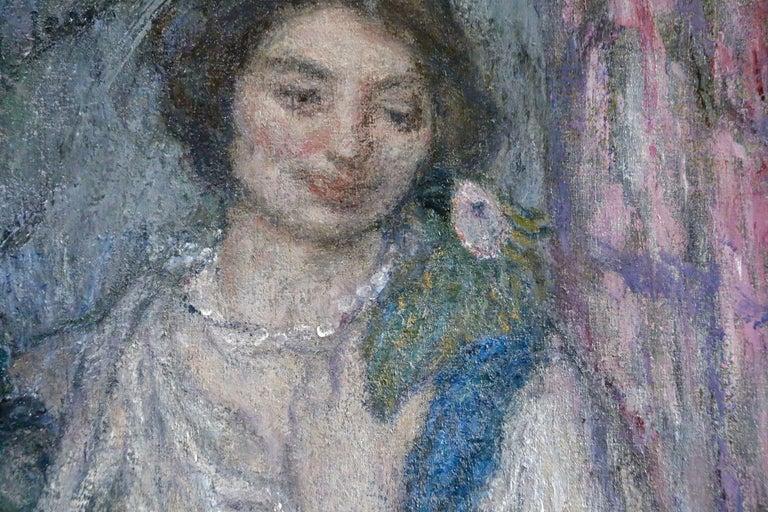 Jeune Fille avec Perroquet - Impressionist Painting by Edmond Aman-Jean