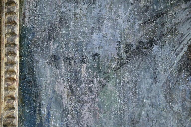 Jeune Fille avec Perroquet - Gray Portrait Painting by Edmond Aman-Jean