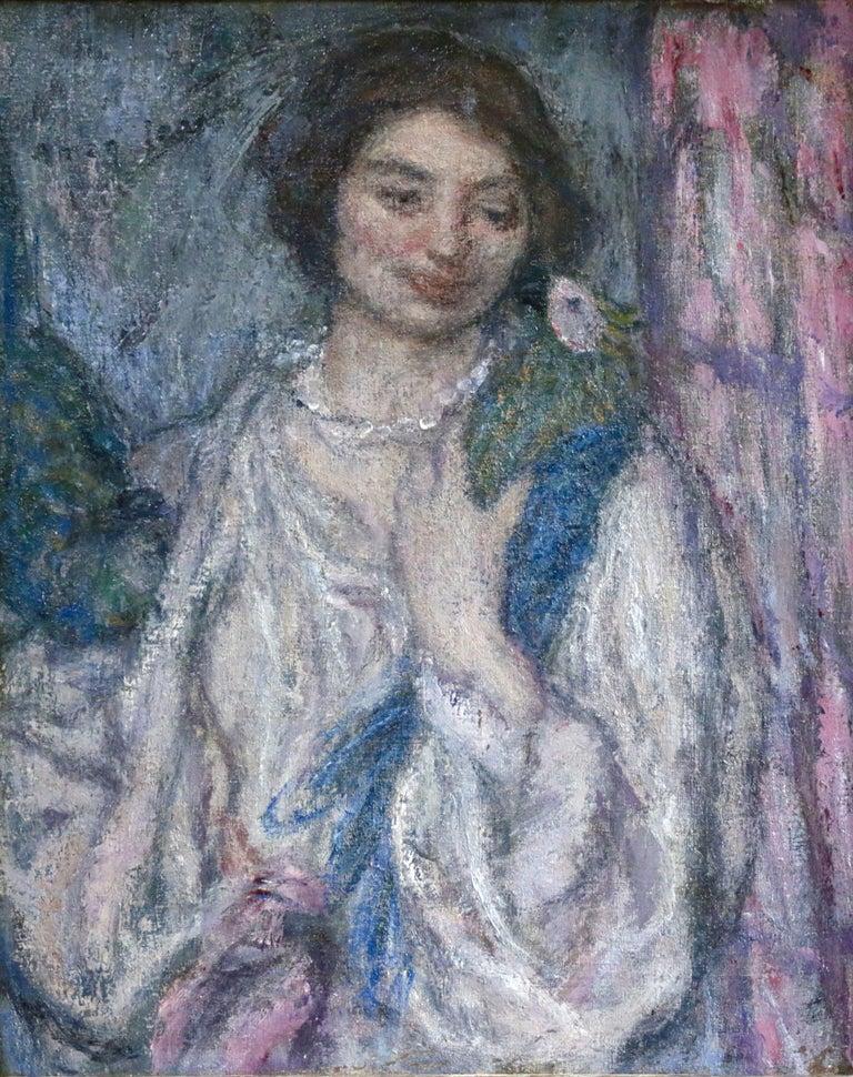 Edmond Aman-Jean Portrait Painting - Jeune Fille avec Perroquet