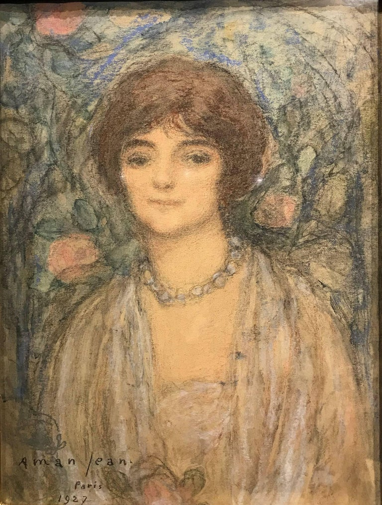 Edmond Aman-Jean Portrait Painting - Portrait of a Woman