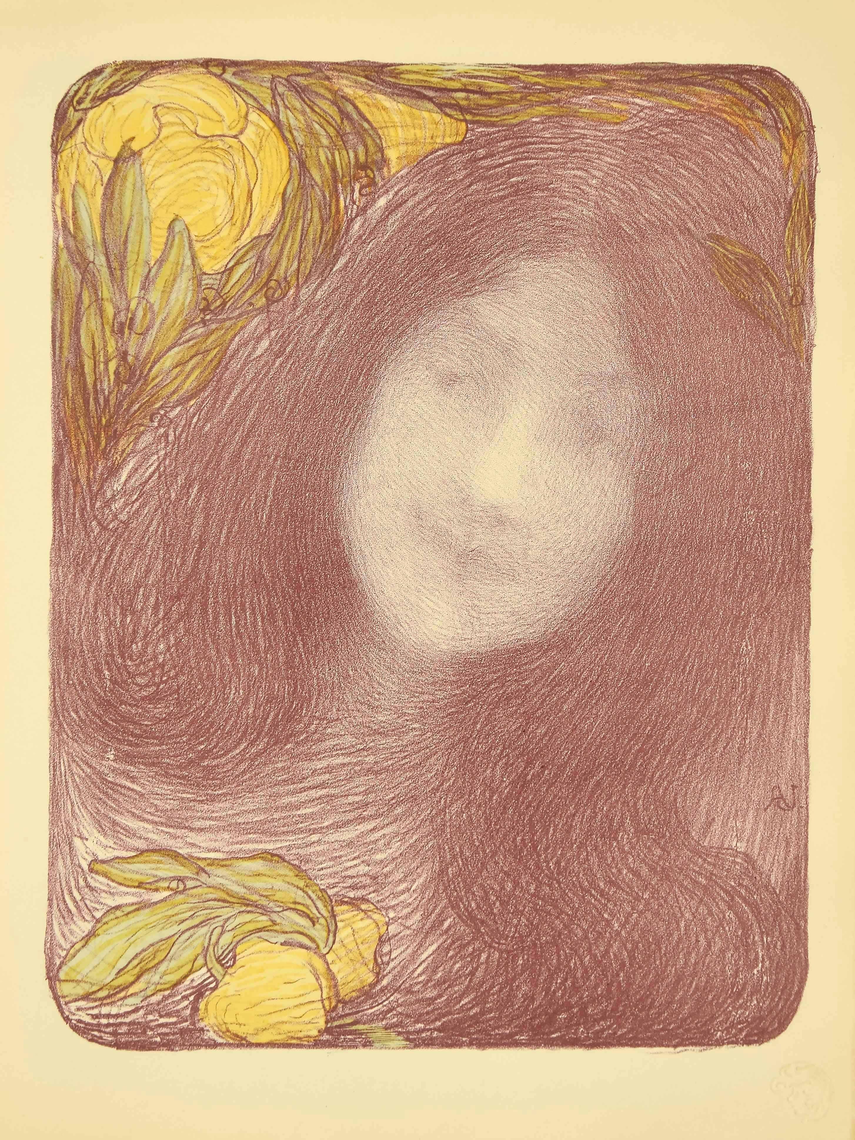 Sous les Fleurs - Original Lithograph by E. Aman-Jean - 1898