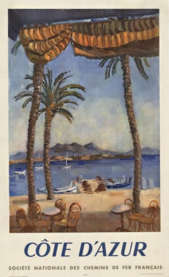 Original Cote d'Azur vintage French travel poster
