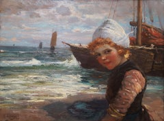 Dutch Girl with Fishing Boats