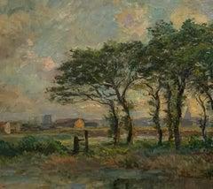 Antique Edmund Petitjean French Impressionist River Landscape Painting