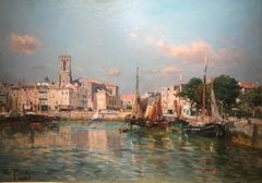 'La Rochelle' Painting of a Harbour with boats, figures and architecture
