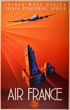 Original Vintage Poster Air France Art Deco French West Africa Equatorial Africa