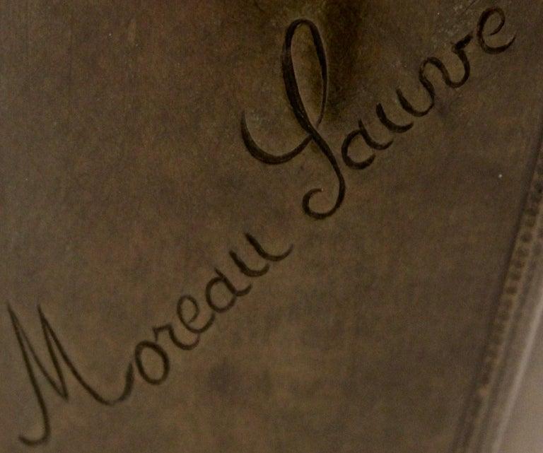 Edmond Moreau-Sauve Signed Bronze Vases, France, 1908 For Sale 5
