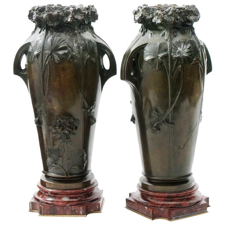 Edmond Moreau-Sauve Signed Bronze Vases, France, 1908 For Sale