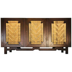 Edmond Spence Mahogany Sideboard Woven Sea Grass Faced Doors Industrial Mueblera