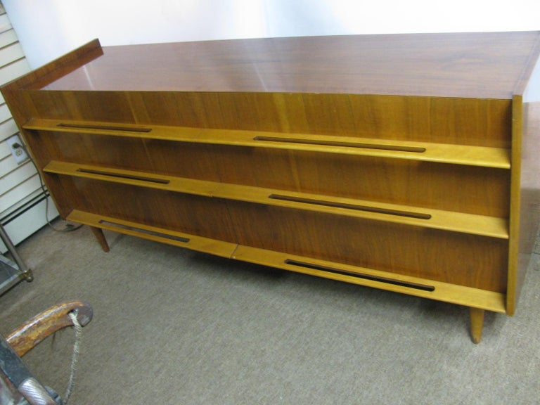 Swedish Edmond Spence Mid-Century Modern Long Dresser Walnut & Birch Made In Sweden For Sale