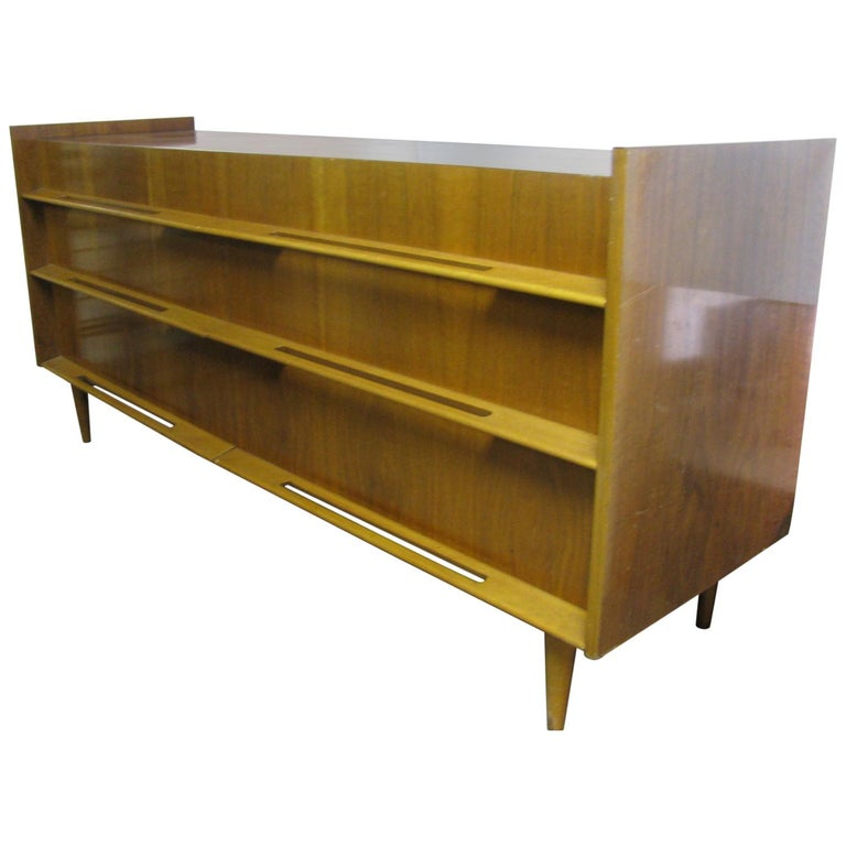Edmond Spence Mid-Century Modern Long Dresser Walnut & Birch Made In Sweden For Sale