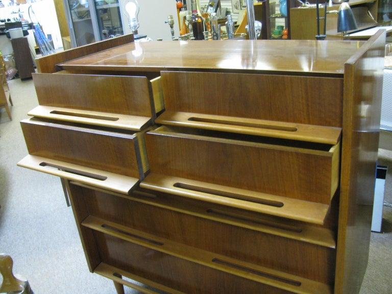 Scandinavian Modern Edmond Spence Mid-Century Modern Walnut and Birch Tall Dresser Made in Sweden For Sale