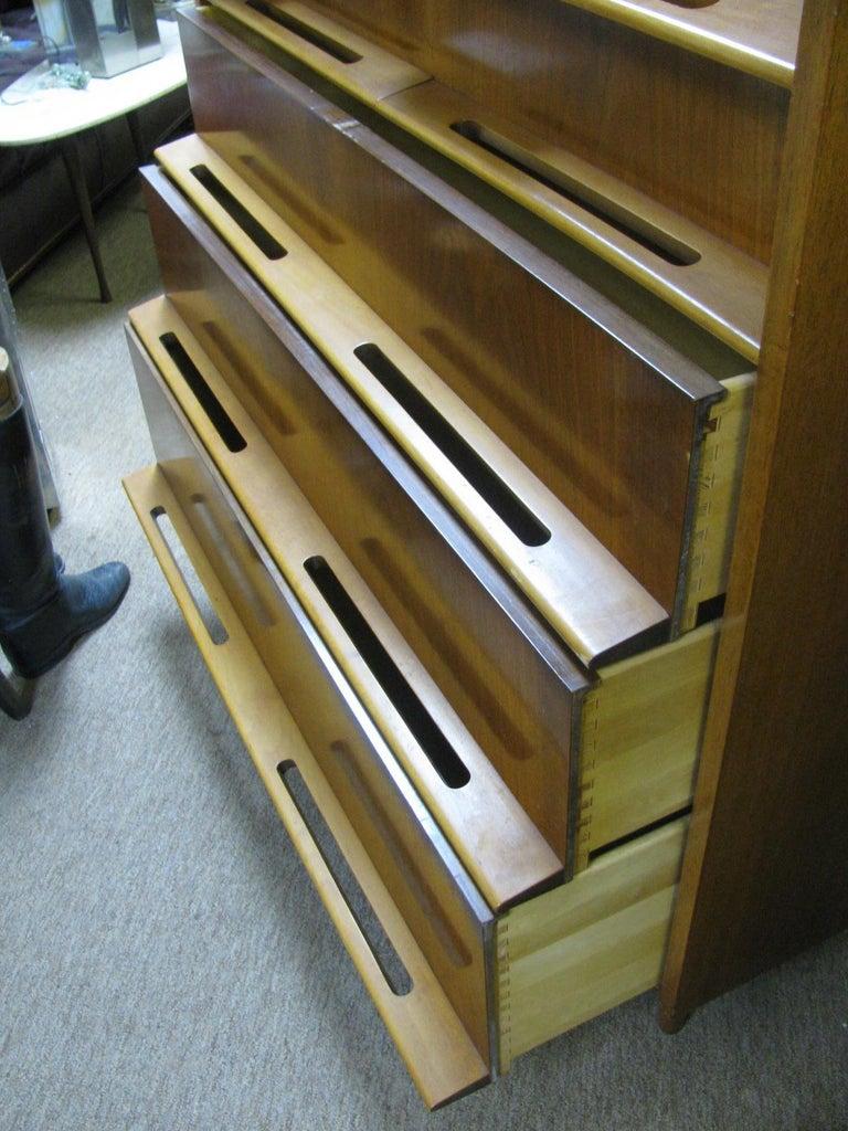 Swedish Edmond Spence Mid-Century Modern Walnut and Birch Tall Dresser Made in Sweden For Sale