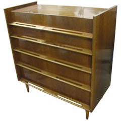 Edmond Spence Mid-Century Modern Walnut and Birch Tall Dresser Made in Sweden
