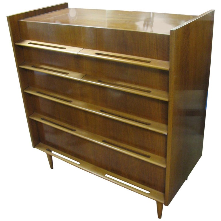 Edmond Spence Mid-Century Modern Walnut and Birch Tall Dresser Made in Sweden For Sale