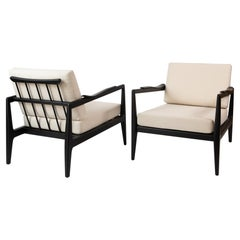 Edmond Spence Pair of Ebonized and Upholstered Lounge Chairs