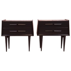 Edmond Spence Swedish Modern Black Lacquered Birch Nightstands, Newly Refinished