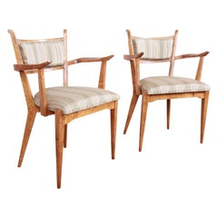 Edmond Spence Swedish Modern Sculpted Tiger Maple Armchairs, Pair