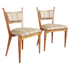 Edmond Spence Swedish Modern Sculpted Tiger Maple Side Chairs, Pair