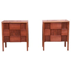 Edmond Spence Swedish Modern Sculpted Walnut Nightstands, Newly Refinished