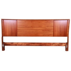 Edmond Spence Swedish Modern Walnut King Size Headboard, 1950s